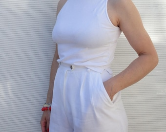 Womens Top Vintage White Sleeveless