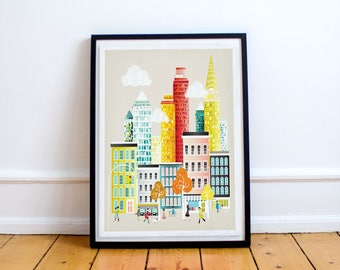 New York NYC Travel Poster, Wall Art Prints, Cityscape Illustration, Decor Home, American Travel Poster, Gift for, Anniversary Wedding Gift