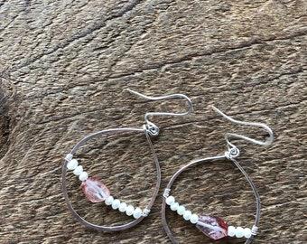 Lepidolite and Pearl 'Glass Half Full' earrings