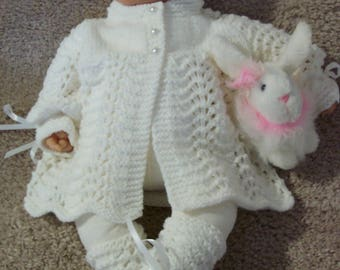 Custom handmade  knit baby girl or Reborn Dolls pretty White Scalloped edge Sweater hat booties Layette 0-12M Ready To Ship