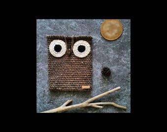Owl Bag, Crochet Owl iPad Case, Owl Decor, Hygge Decor, Crochet Owl Purse, Owl Gifts, Crochet Owl Bag, Rustic Owl, iPad Cover, Owl Crochet