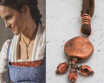 Belle Inspired Necklace, Beauty and the Beast Necklace, Emma Watson Leather Lariat Necklace, Leather and Copper Adjustable Lariat Necklace