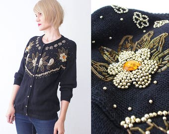 80s bejeweled cardigan. beaded cardigan. embroidered black party cardigan - small to medium