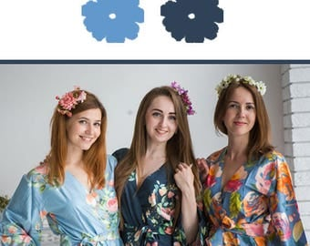 Blueberry Blue and Dusty Blue Wedding Color Bridesmaids Robes - Premium Rayon Fabric - Wider Belt and Lapels - Wider Kimono sleeves
