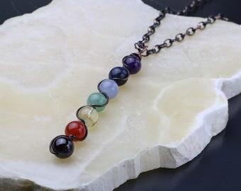Chakra Gemstone Necklace, Chakra Wand Pendant, 7 Chakra Necklace, Copper Wire Wrapped Gemstones, Layering Necklace, Oxidized Copper, Boho