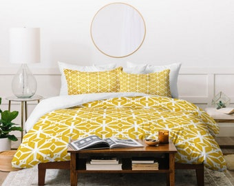 Yellow Geometric Duvet Cover // Twin, Queen, King Sizes Available // Home Decor // Bedding // Geometric // Diamante Gold Design // Bedroom
