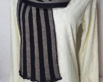 Alpaca Scarf, Suri Alpaca Scarf, Natural Color Scarf, Handmade Alpaca Scarf, Knit Alpaca Scarf, Unisex Scarf