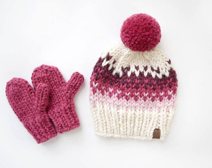 Featured listing image: Fair Isle Hat and Mitten Set
