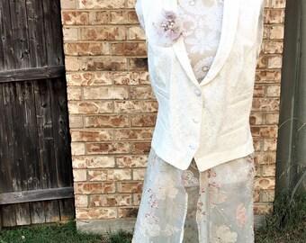 Altered Women's Cotton Nylon Vest, Lace Beaded Skirt, Size Extra Large, Shabby Chic Top, Romantic Top, Funky Vest, BoHo, Detachable Flower