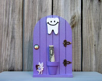 Tooth Fairy Door, Purple, Glittery, Teeth Holder, Money Holder, Lost Tooth, Painted Wood, Childs Gift