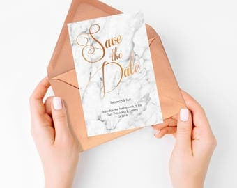 marble save the date - wedding diy printable digital file - elegant calligraphy with faux copper or custom colors, modern wedding stone luxe