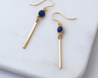 Blue Lapis Gold Bar earrings - minimal and modern gold danglys