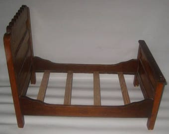 Antique Handmade Wooden Doll bed, L.A.H.