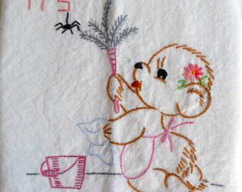Vintage Flour Sack Kitchen Towel - Thursday House Cleaning Teddy Bear - Embroidered Days of the Week