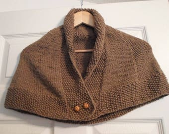 Knitted Capelet - Capelet Knitted from a Dark Beige Acrylic Yarn - Size for Smaller Ladies or Girls