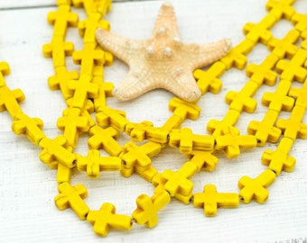 Howlite Cross Beads, 16 x 12mm, 25 pcs, Yellow Beads, Cross, Spacer Beads -B247