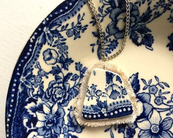 Broken china jewelry - china pendant necklace with chain - antique china shard on linen pendant - blue toile English transferware