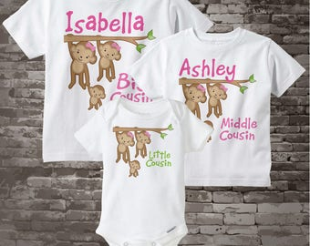 Set of Three Personalized Big Cousin Girl, Middle Cousin Girl, Little Cousin Monkey Unknown Gender Tee Shirts or Onesies (09082014g)