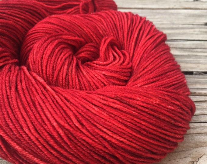 Ruby Daggers Red Hand Dyed DK Yarn dark red Hand Painted yarn 274 yards handdyed dk sport weight Superwash Merino Wool crimson swm blood red
