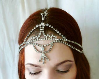 Art Deco Headpiece - True Vintage Rhinestone Headdress - One of Kind - 1920s Wedding, Bridal Headdress, Prom, Burlesque, Festival Headpiece