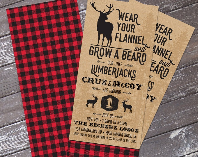 TWINS Lumberjack Invitation - Lumberjack Birthday Party,  Buffalo Plaid Invitation | Editable Text - DIY Instant Download PDF Printable