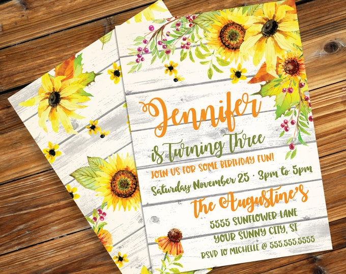 Sunflower Invitation - Reclaimed Wood & Flower, Birthday, Shower | Editable Text - DIY Instant Download PDF Printable