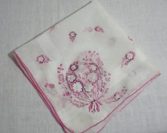 Vintage White & Pink Flowered Hanky - Embroidered Centers