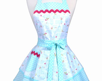 Womens Ruffled Retro Apron - Aqua Bird Cages Womans Vintage Style Pinup Kitchen Apron with Pocket to Personalize or Monogram (DP)