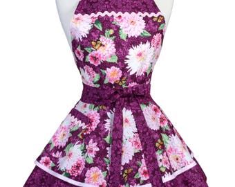 Womens Ruffled Retro Apron in Wine and Pink Mums Floral with Pocket to Personalize or Monogram