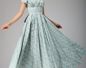 maxi dress, prom dress, linen dress, floral dress, bridesmaid dress, duck egg blue, wedding dress, party dress, women dress, custom (665)