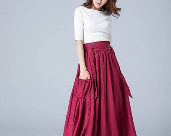 wine red skirt, linen skirt, maxi skirt, wide waist band skirt, pleated skirt, pockets skirt, fall skirt, flare skirt, womens skirts  1772