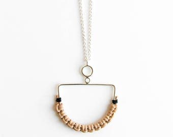 Dream Necklace - minimal sterling silver leather pendant