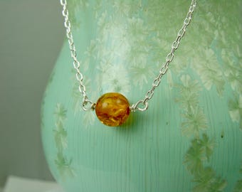 Amber and Silver Necklace / Amber Choker Necklace / Healing Stone / Wiccan Jewelry