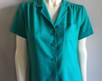 Vintage Women's 80's Turquoise, Blouse, Short Sleeve, Top by Rhapsody (S)