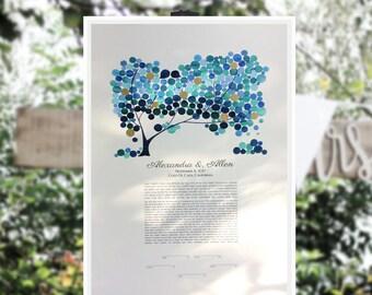 Gold Accents embellished Modern Ketubah Tree of Life art print - JAPANESE BIGLEAF MAGNOLIA