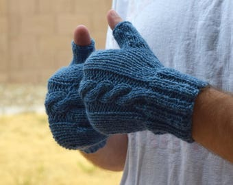 Men's fingerless gloves Blue wool mittens gift for him warm gloves mens accessories gift under 40 Christmas husband boyfriend gift