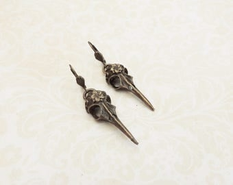 Bird raven  skull earrings bronze color , gothic victorian style.
