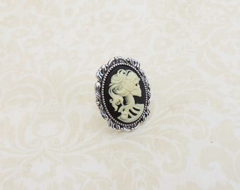 Lady skull adjustable cameo ring , with resin cabochon and ornate silvertone base , gothic victorian style