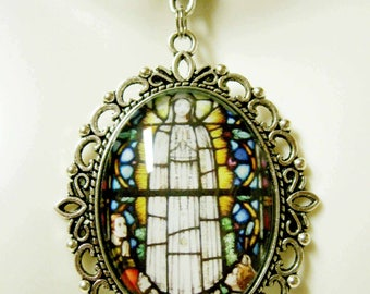 Our Lady of Fatima stained glass window necklace - AP09-231
