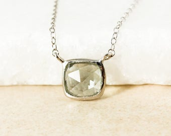 Silver Sage Green Tourmaline Necklaces - Horizontal Necklace - Choose Your Stone & Setting