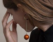 Vintage Orange Ball Drop Crescent Earrings