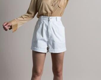 Vintage 90s High Waist White Cotton Pleated Shorts | 6