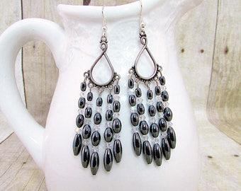 Hematite Chandelier Earrings - ER9 -