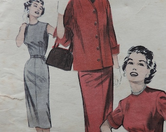 Vintage Butterick 6688 Sewing Pattern 1940s New Look Wiggle Dress and Match-Box Jacket Size 14