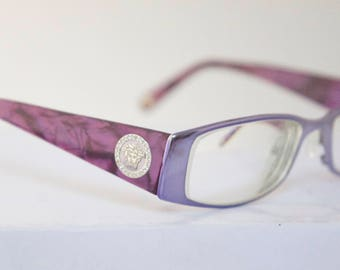Versace Eyeglasses Frames // Women's Vintage 1990's // Purple Mauve Tortoiseshell with Jewels on Arms