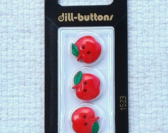 """Red 3/4"""" Apple Buttons by Dill Buttons of America, Inc. - Cards of 3                                                      09/17"""