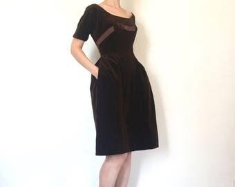 1960s Vintage Dress Mr. Mort Brown Velvet Mod Party Dress XS