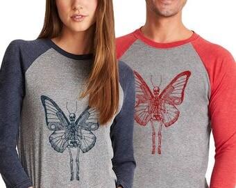 Skeleton Shirts For Men and Women, Unisex Baseball Tee, 3/4 sleeve shirt, Hand Screenprinted, Made to Order, Butterfly Skeleton Winged Skull
