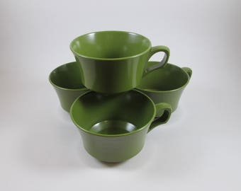 Set of Four Avocado Green Melamine Coffee Cups Vintage Mid Century Tea Cups