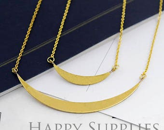 8Pcs High Quality Raw Brass Moon Pendant Charms / Connector with Hole (ZG342)